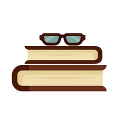 books and glasses vector image