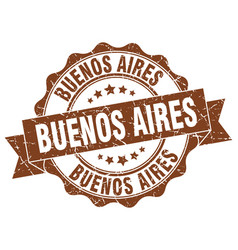Buenos aires round ribbon seal vector