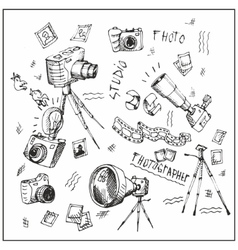 Cameras Hand-painted Black vector image vector image
