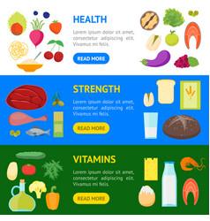 cartoon color healthy food banner horizontal set vector image vector image