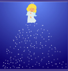 christmas angel with snowflakes vector image