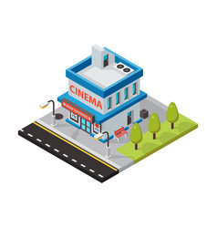 cinema movie theater isometric buildings vector image vector image
