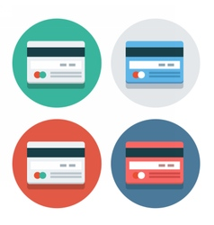 Circle flat icon collection credit card vector