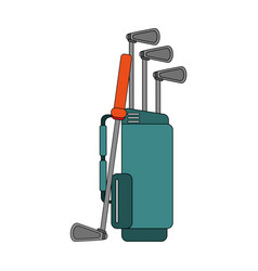 Color image cartoon bag with golf clubs vector