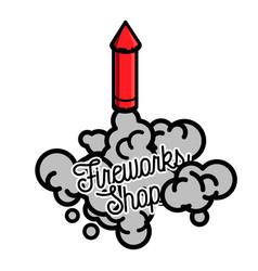 color vintage fireworks shop emblem vector image vector image