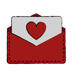 Drawing love heart envelope mail valentine lette vector