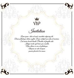 Elegant white emblem for vip invitations with a vector