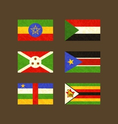 Flags of Ethiopia Sudan Burundi South Sudan vector image vector image