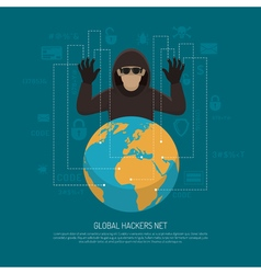 Global hackers net symbolic background poster vector