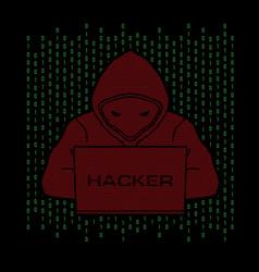 hacker working on laptop vector image
