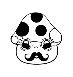 Kawaii cute sad fungus with mustache vector
