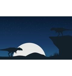 Landscape of mapusaurus dinosaur silhouettes vector image vector image