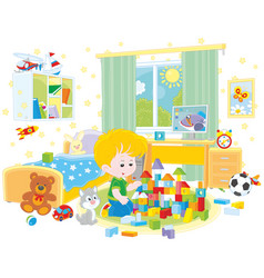 little boy playing with bricks vector image vector image