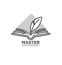 master lawyer company logotype open book with vector image