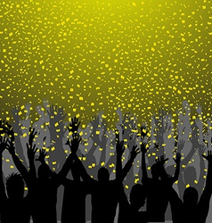 Nightclub party with hands in air and golden vector image vector image