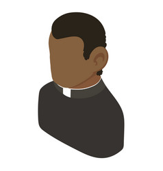 Priest african american icon isometric 3d style vector