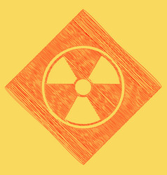 Radiation round sign red scribble icon vector