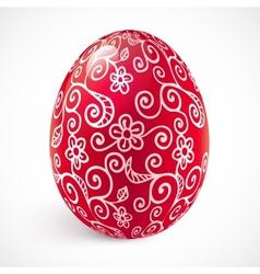 Red ornate easter egg vector image