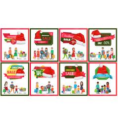 Set of christmas sale premium quality banners vector