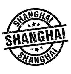 Shanghai black round grunge stamp vector