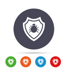 shield sign icon virus protection symbol vector image