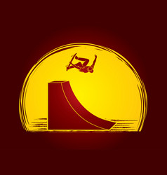 Skateboarder high jumping graphic vector