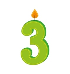 three numbre candle birth isolated vector image