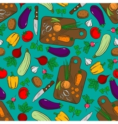 Vegetable salad preparation seamless pattern vector