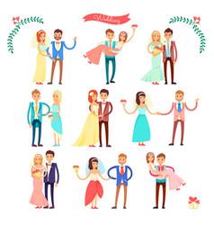 wedding icons happy couple on vector image