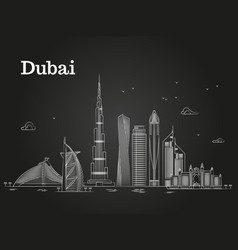 white linear dubai panorama with skylines and vector image