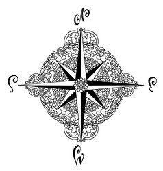 Wind rose in mandala style nautical compass icon vector