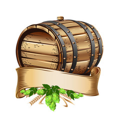 wooden beer barrel still life vector image vector image