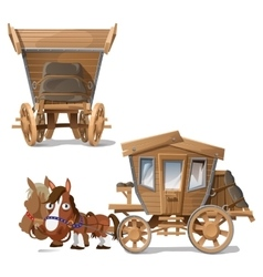 Wooden coach pulled by horses two perspectives vector