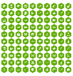 100 animals icons hexagon green vector
