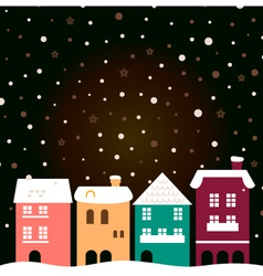 Colorful christmas city houses with snowing behind vector