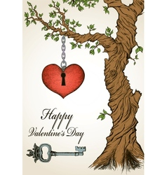 Handdrawn valentine card with tree and heart vector image