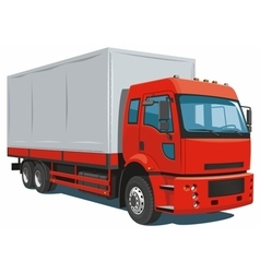 Red commercial truck vector