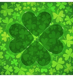 Green clover shape on light clovers background vector image