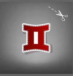 Gemini sign  red icon with for applique vector