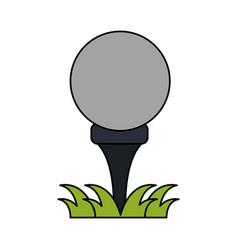 Color image cartoon golf ball on tee in grass vector
