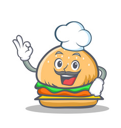 Chef burger character fast food vector