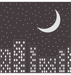 Silhouette of the night city stars and halfmoon vector