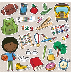 African-American school boy vector image