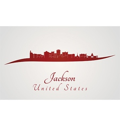 Jackson skyline in red vector