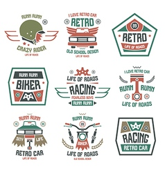 Racing badges for t shirt retro vector image