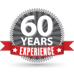 60 years experience retro label with red ribbon vector