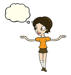 Cartoon woman with arms spread wide with thought vector