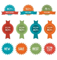Set of eleven discount badges and labels vector