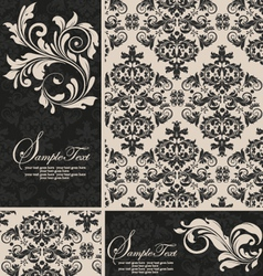 elegant damask invitation card vector image