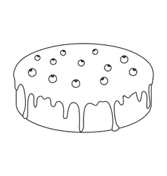 Bilberry cake icon in outline style isolated on vector